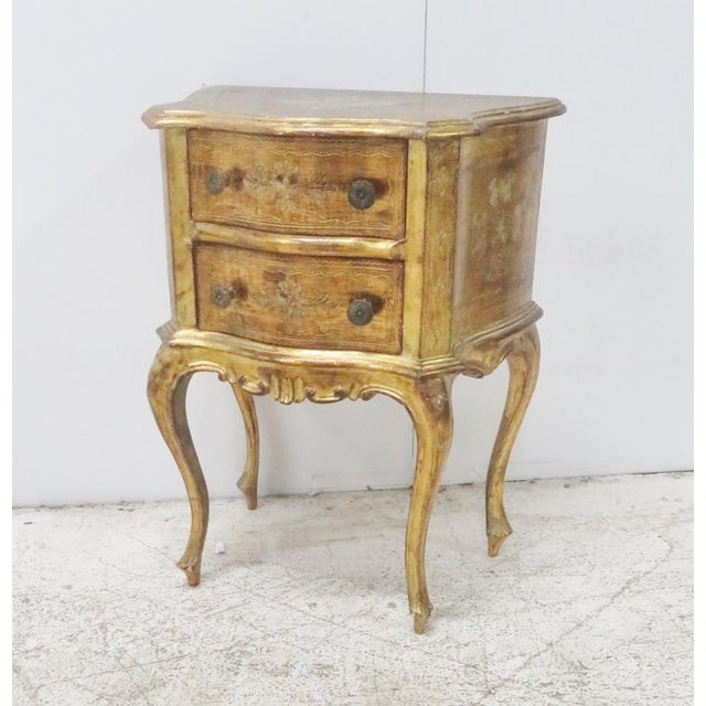 Wood Italian Florentine Gold Gilt Nightstand For Sale - Image 7 of 7