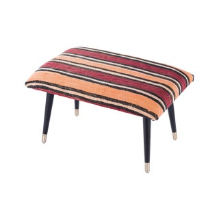Pasargad Home Bosphorus Collection Red Kilim Cover Ottoman For Sale