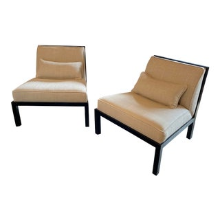 Mid Century Asian Modern Black Slipper Chairs - a Pair For Sale