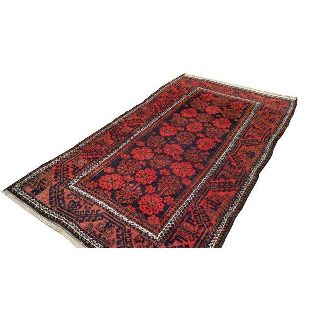 Vintage Traditional Baluch Hand Made Knotted Rug - 3′6″ × 6′2″ - Image 3 of 4