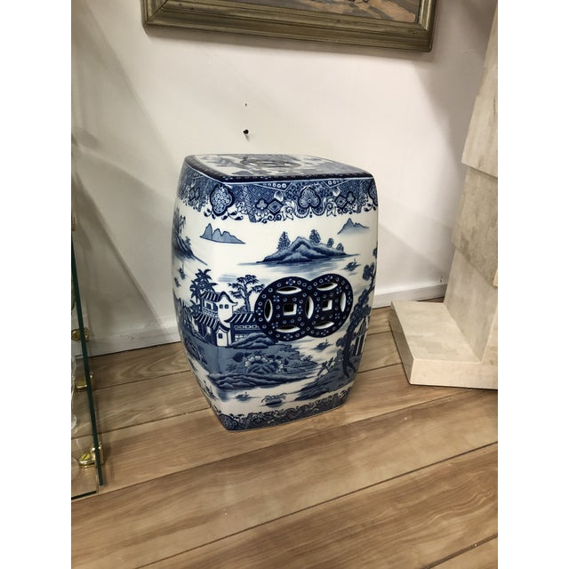 Ceramic 1980s Chinoiserie Blue & White Pagoda Garden Stool For Sale - Image 7 of 9