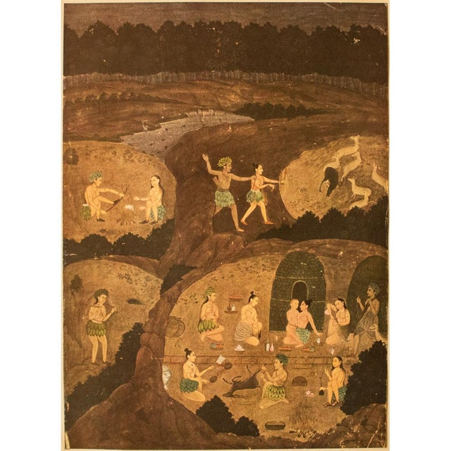 "An incredible rare large original gold-leafed offset lithograph ""Gazelle Hunt By Night"" after 17th century Indian..."