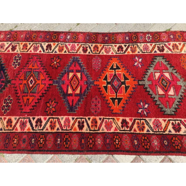Vintage Hand Knotted Turkish Runner For Sale - Image 4 of 9