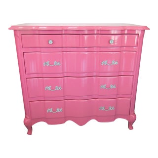 Vintage White Co. Refreshed Pink Lacquered Chest of Drawers For Sale