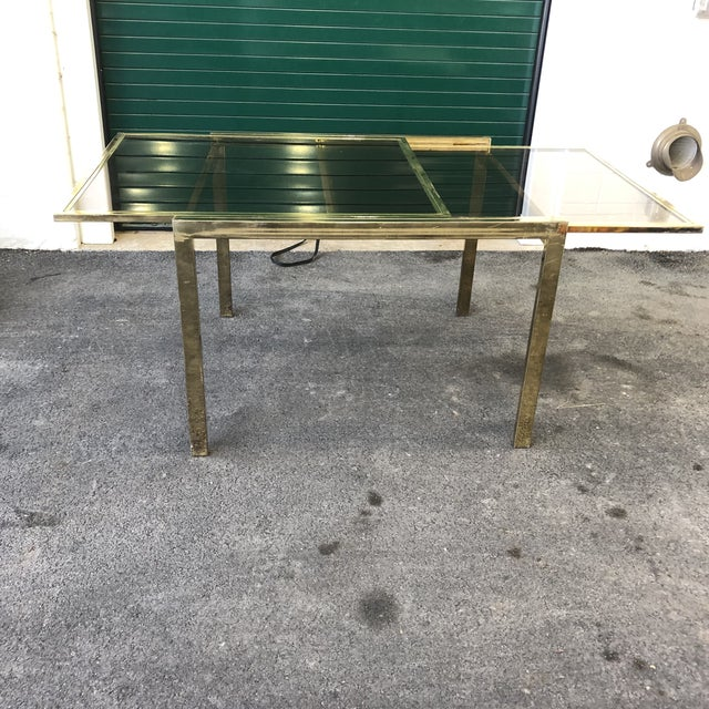 1960s Vintage Dia Brass Lacquer and Glass Expanding Dining Table For Sale - Image 5 of 13