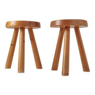 Charlotte Perriand Pair of Tripod Pine Stool from Les Arcs, France, 1960s For Sale