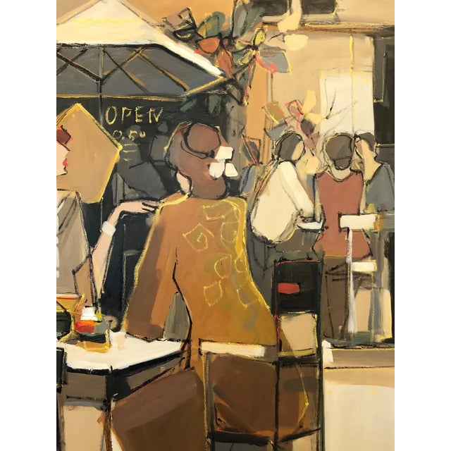 Very Large Original French Cafe Scene Painting by Isaac Maimon For Sale In Philadelphia - Image 6 of 11