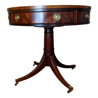 Late 20th Century Vintage Hickory Chair Furniture Company Drum Table For Sale