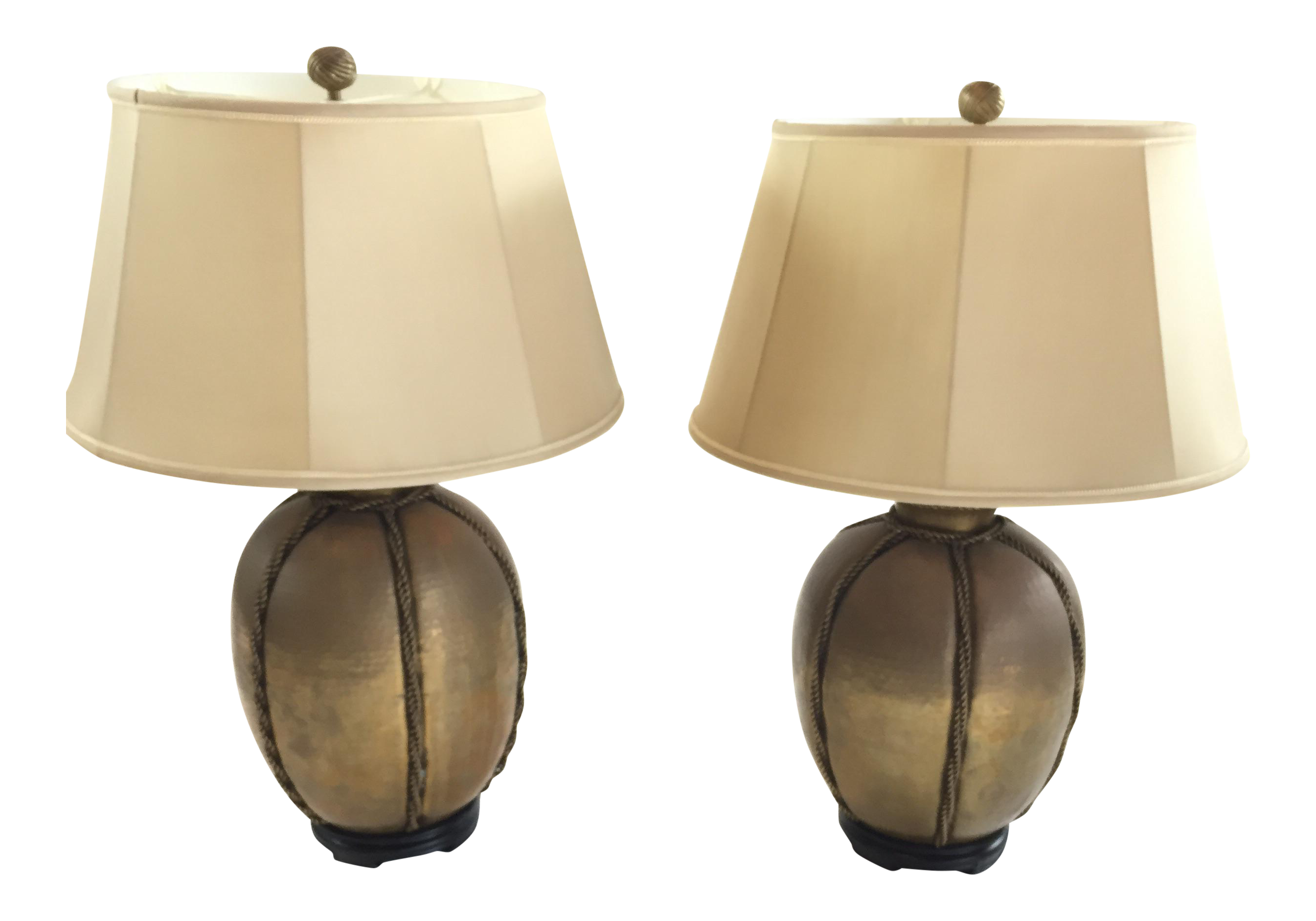 Chapman Hand Hammered Brass Rope Lamps   A Pair