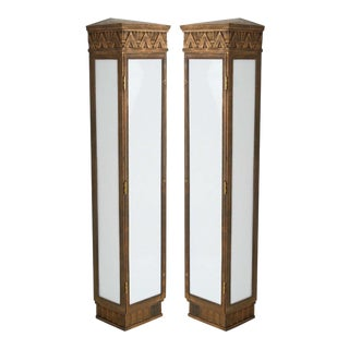 1930s Tall Art Deco Bronze Exterior Sconces - a Pair For Sale
