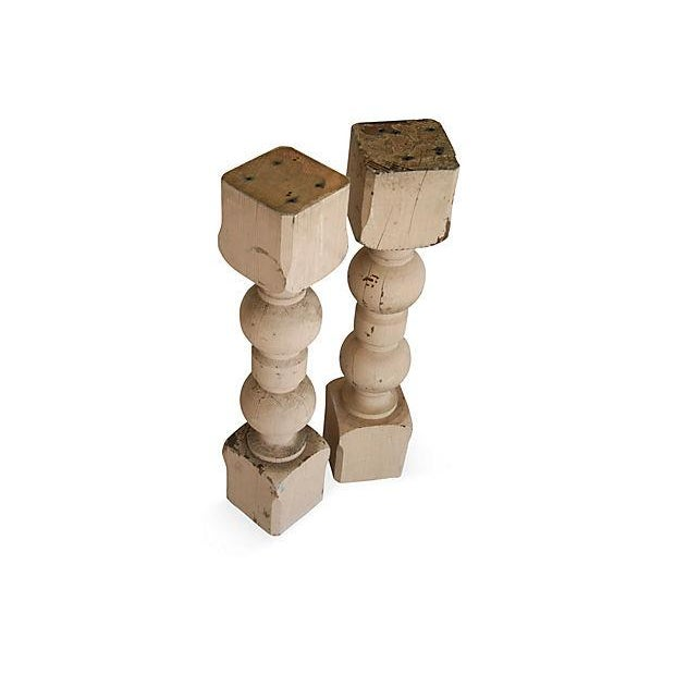 Large 1940s Carved Wood Corbel Columns - A Pair - Image 2 of 3