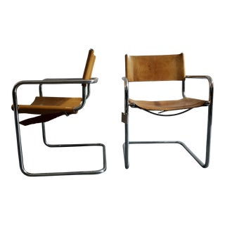 Vintage Mid-Century Leather & Chrome Chairs - A Pair For Sale