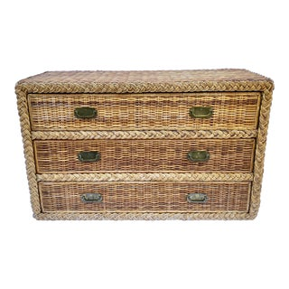 1970s Wicker Campaign Style Dresser Chest of Drawers For Sale