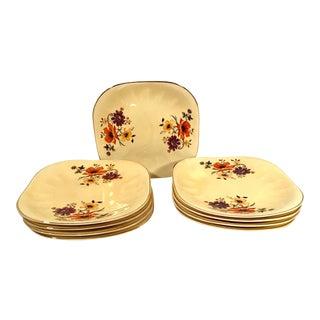 Vintage Limoges China Golden Glow Dessert Plates - Set of 9 For Sale