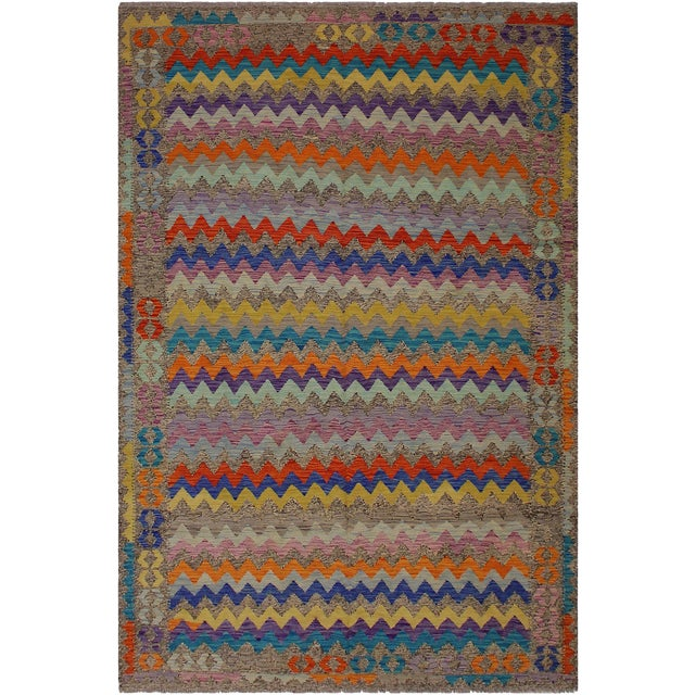 Abstract Expressionism Alphonse Brown/Blue Hand-Woven Kilim Wool Rug - 6'6 X 9'10 For Sale
