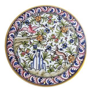 1970s Hand Painted Portuguese Porcelain Trivet For Sale