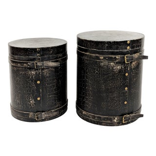 1980s Leather Crocodile Boxes / Side Tables - A Pair For Sale