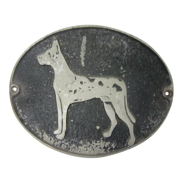 Vintage Metal Dog Plaque For Sale