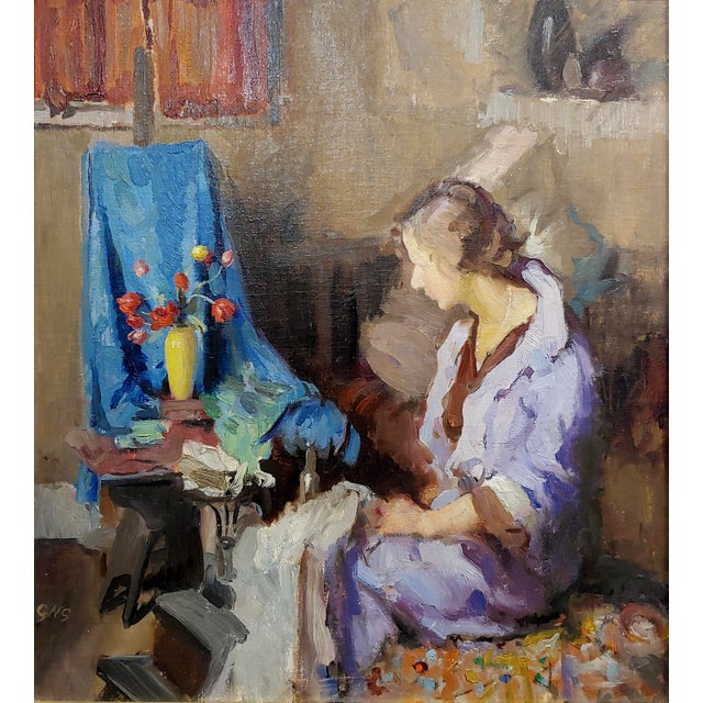 Country Gladys Nelson Smith - Woman in Purple Looking at Flowers- Beautiful Oil Painting For Sale - Image 3 of 11