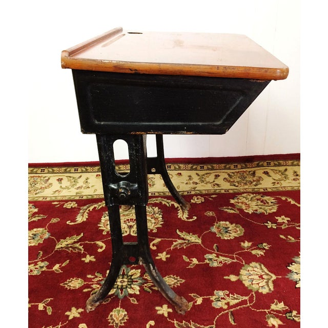 Antique American Seating Cast Iron Student School Desk & Chair For Sale - Image 6 of 10