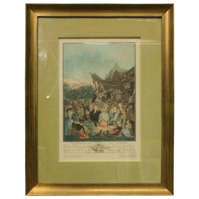 """Antique French Hand Tinted Print """"Le Menuet De La Mariee"""" by P L Debucourt For Sale"""