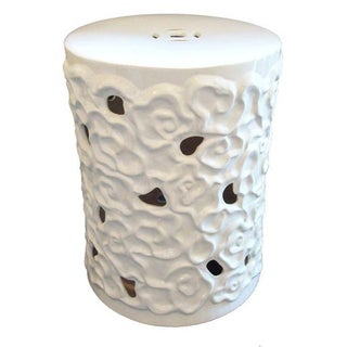 Asian White Glazed Ceramic Stool