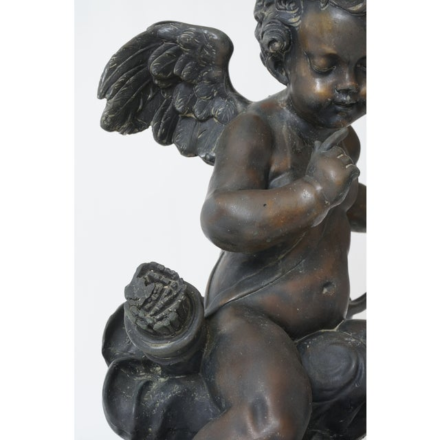 """Vintage After Houdon """"Seated Cupid With Bow"""" Bronze Sculpture For Sale - Image 4 of 13"""