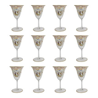 Enameled Venetian Glass Wine or Water Goblets, 1930s - Set of 12 For Sale