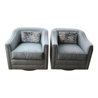 Custom-Made Patricia Edwards Swivel Tub Chairs - A Pair For Sale