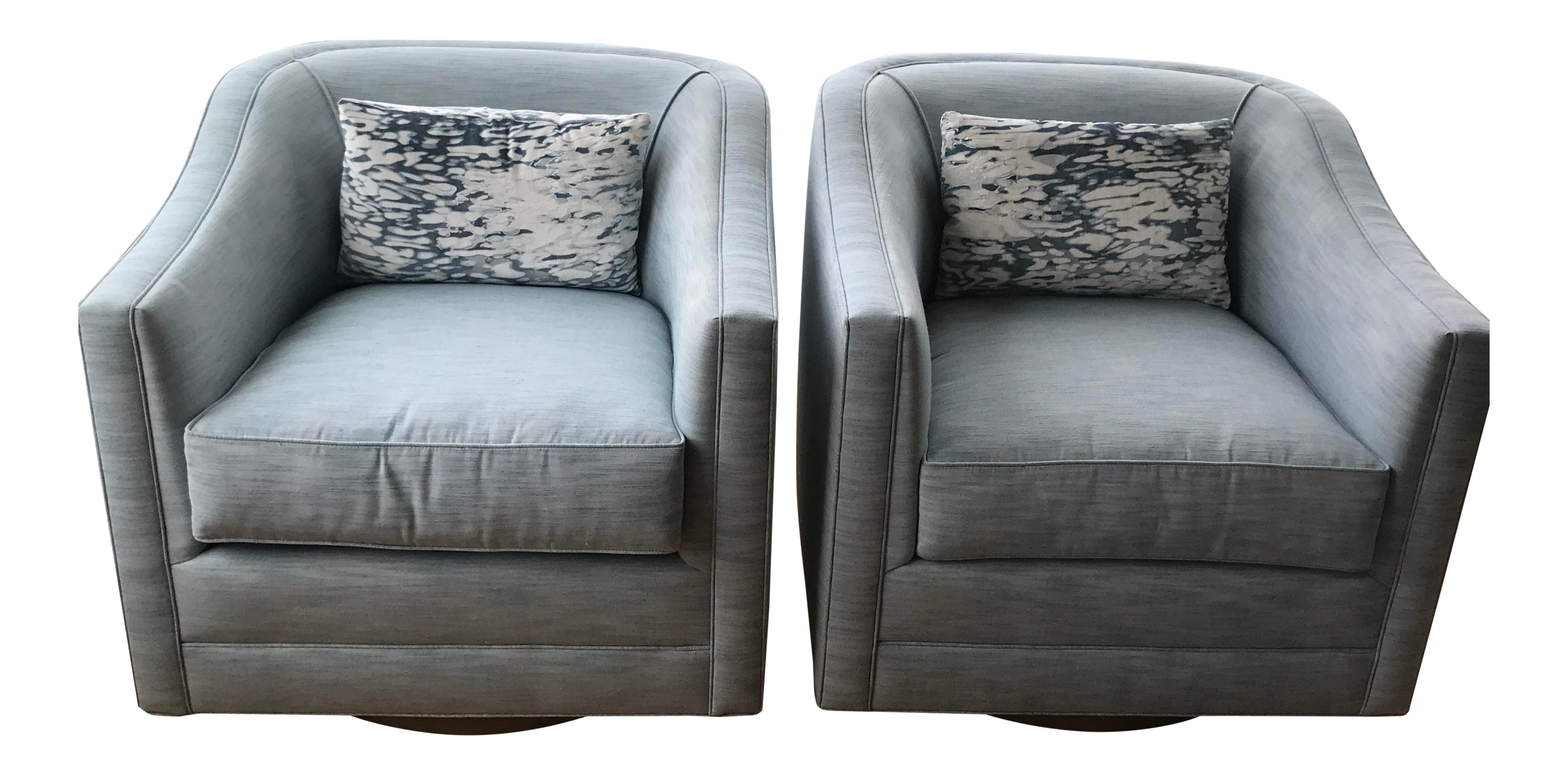 Custom Made Patricia Edwards Swivel Tub Chairs   A Pair For Sale