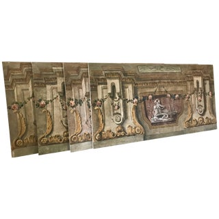 Rare Set of Four Italian 18th Century Panels, Gouache on Canvas For Sale
