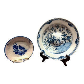 18th Century English Delft Rosewater Charger & Delft Bowl- 2 Pieces For Sale
