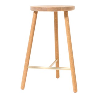 Steven Bukowski Contemporary Scout Stool in Cerused White Oak and Brass For Sale
