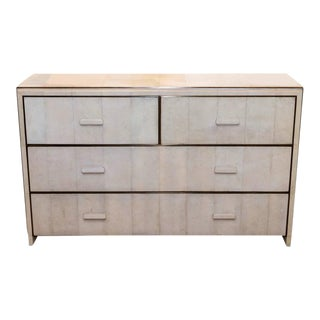 White Shagreen Four-Drawer Commode with Bronze Trim For Sale
