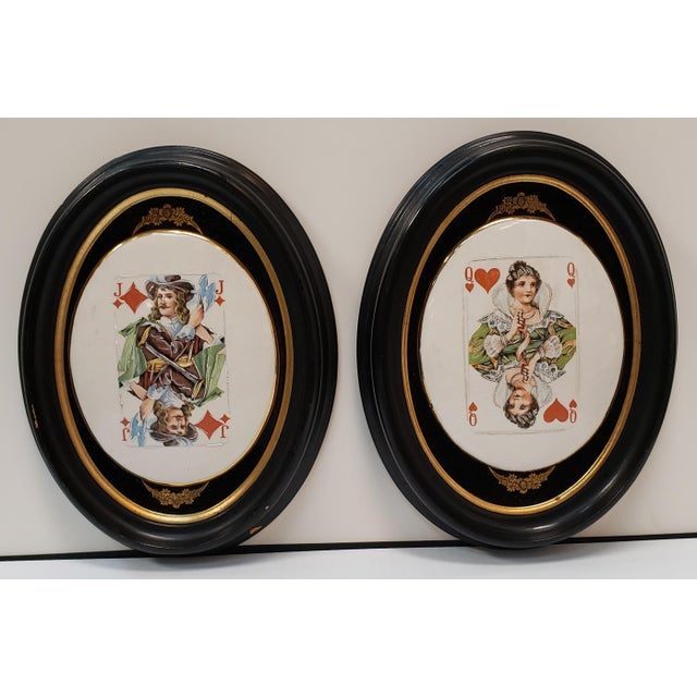 Late 19th Century Late 19th Century English Playing Card Painted Transferware Framed Porcelain Plaques - a Pair For Sale - Image 5 of 5
