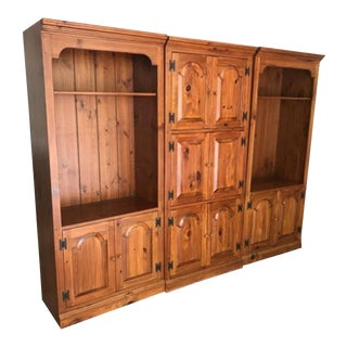 Ethan Allen Three Piece Entertainment Wall Unit For Sale