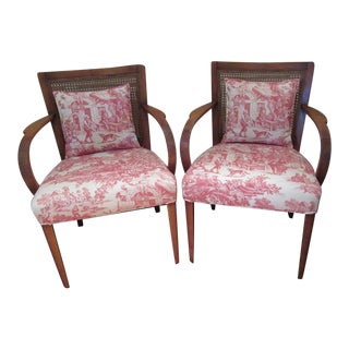 Mid-Century Modern Park Avenue Chair Wood Arm Chair With Toile Upholstery - a Pair For Sale