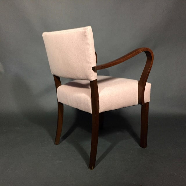 1940s Armchair in Dark Stained Oak, Felted Wool Upholstery For Sale In New York - Image 6 of 10