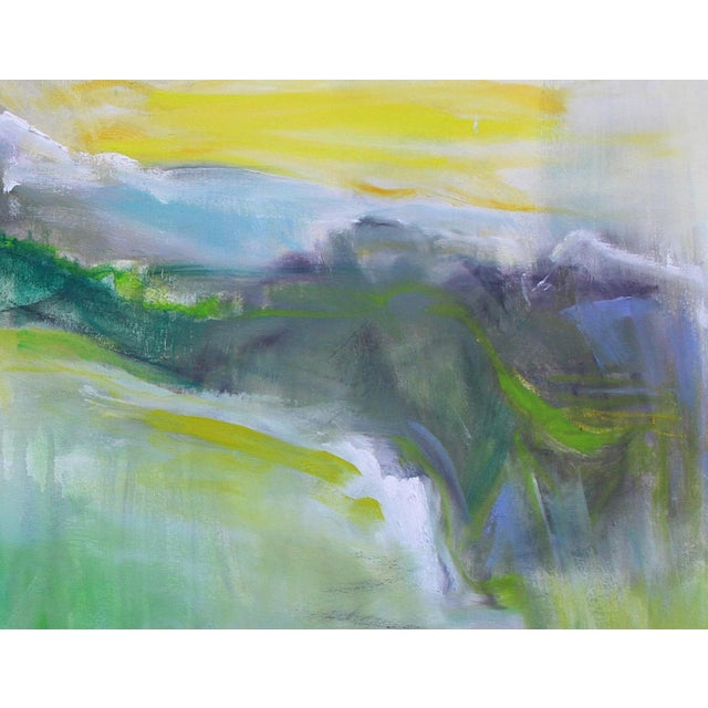 """Trixie Pitts """"Rocky Mountain Morning"""" by Trixie Pitts Large Abstract Landscape Oil Painting For Sale - Image 4 of 10"""