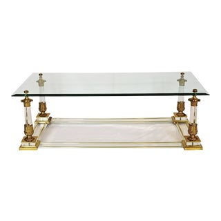 Hollywood Regency Brass & Acrylic Coffee Table For Sale