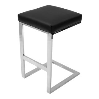 Black Leather Hot Toddy Bar Stool For Sale