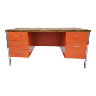 Mid Century Modern Laminated Top Metal & Chrome Executive Desk For Sale