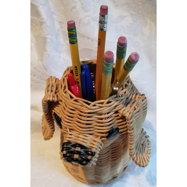 Add a little whimsy to your office or home desk top with this vintage wicker doggie. He'll hold your pencils and pens...