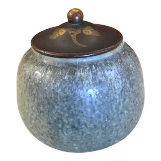 """Patrick Nordström for """"Royal Copenhagen"""" of Denmark Incised Brass Lidded Jar Dated 1921 For Sale"""
