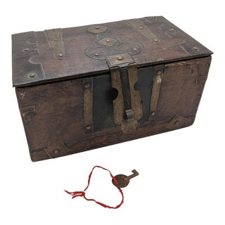 Vintage Wooden Locking Moroccan Box For Sale