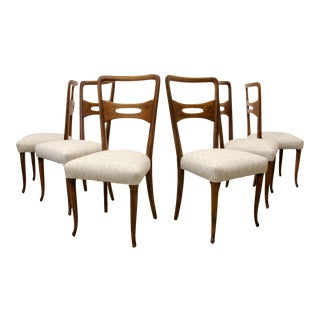 1950s Organic Design in Mahogany Dining Chairs by Vittorio Dassi For Sale