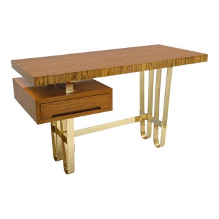 Mid-Century Italian Wood Desk With Floating Drawer and Looped Brass Base For Sale