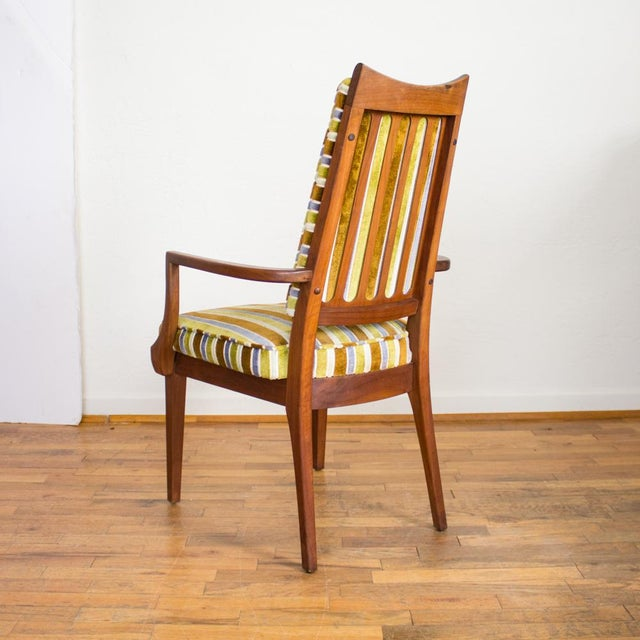 Set Of 6 Dining Chairs: Mid-Century Modern Striped Upholstery Dining Chairs
