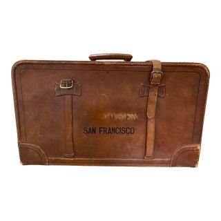 "Vintage ""San Francisco"" Stenciled Leather Suitcase C.1930s For Sale"
