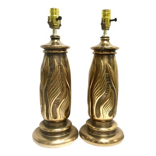 Vintage Solid Brass Table Lamps - a Pair For Sale